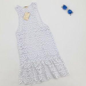 4/$25 NEW Miken Swim Crochet Dress White Coverup